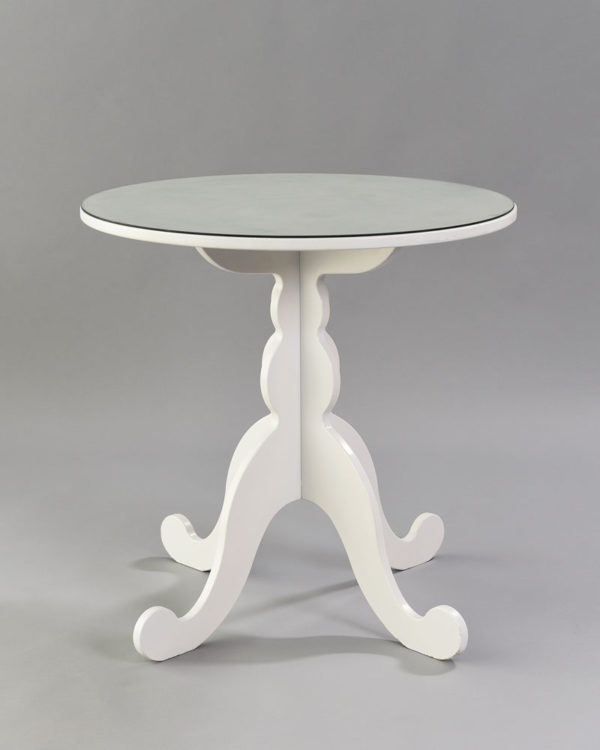White Table with Glass Top