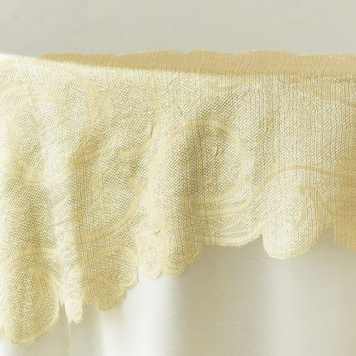 gold damask organza - close up