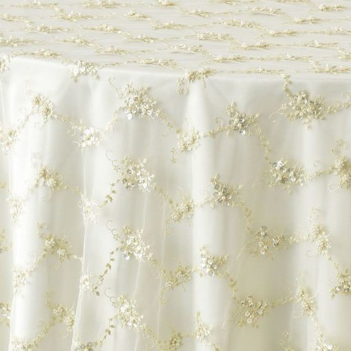 ivory beaded tulle - close up