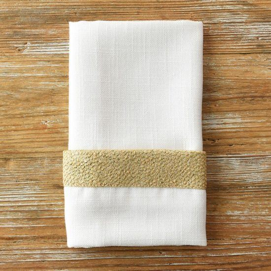 White Sand Gold Flake Trim Napkin