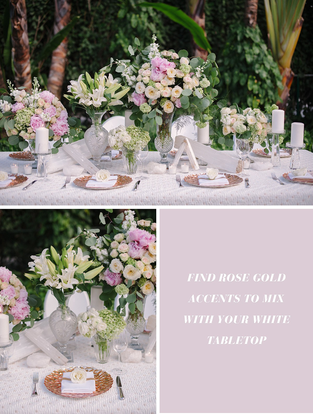 Inspirational tips for a timeless all white wedding design our all time favorite piece of advice no matter what wedding theme youre going for all white dcor is timeless you can take it through the seasons junglespirit Choice Image