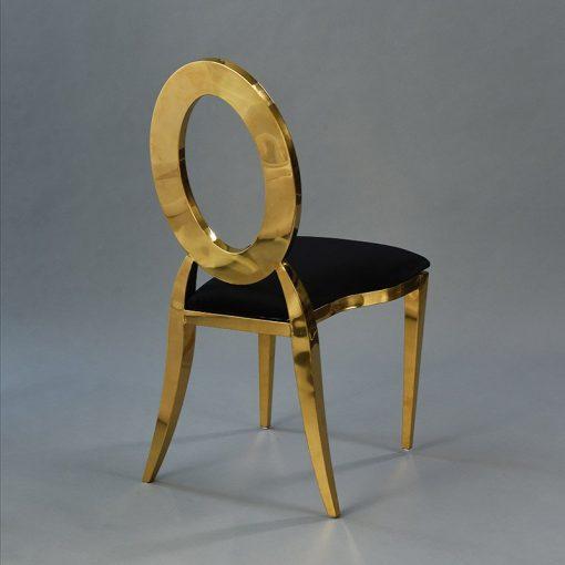 Gold Amsterdam Chair - Black Velluto Seat